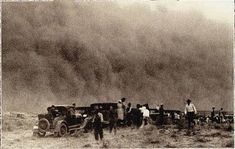 """This photo, taken April in Western Kansas, shows people out on a rabbit hunt when they were overtaken by a dust storm. The """"Dust Bowl"""" days in Kansas had a devastating effect on the state's economy. Canadian History, American History, Route 66, Bowl Image, Grapes Of Wrath, Dust Storm, Dust Bowl, Great Depression, Old Photos"""