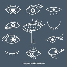 Pack of hand drawn different eyes Free Vector Ideal Logo, Tatuagem Diy, Evil Eye Art, Eye Illustration, Abstract Face Art, Diy Tattoo, Painted Clothes, Doodle Art, Line Drawing