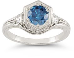 applesofgold.com - Roman Art Deco London Blue and White Topaz Ring in .925 Sterling Silver