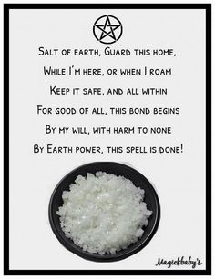 Salt spell for the home, protection spell Witchcraft Spells For Beginners, Magick Spells, Wicca Witchcraft, Wiccan Rituals, Luck Spells, Green Witchcraft, Wiccan Spell Book, Wiccan Witch, Spell Books