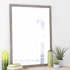 Spiegel met grijze houten lijst, hoogte 110 cm, TRENDY