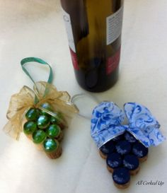 "Grape Ornament, several different styles available at ""All Corked Up"" Etsy shop, $8.00. Pretty for Christmas, gift tag, add on for wine gifts, etc."