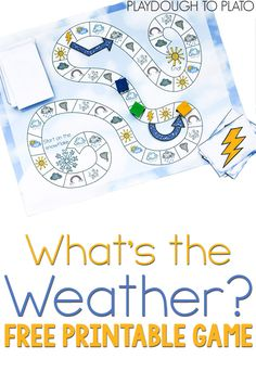 Explore weather vocabulary with preschool and kindergarten students with this free printable weather board game from Playdough to Plato. Weather Activities For Kids, Teaching Weather, Weather Science, Teaching Kids, Weather Crafts, Science Activities For Kindergarteners, Preschool Weather Chart, Weather For Kids, Articulation Activities