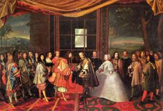 Maria Theresa is handed over to the French and her husband by proxy, Louis XIV on the Isle of Pheasants