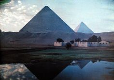 A view of the Pyramids, Giza, Egypt.    1920s.  Should have seen last year but got canceled due to the unrest in Egypt : (