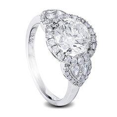 White gold diamond engagement ring round centre diamond and pear shape diamonds Pink Diamond Engagement Ring, Pink Diamond Ring, Celebrity Engagement Rings, Designer Engagement Rings, Heart Shaped Diamond, Pear, Centre, Diamonds, White Gold