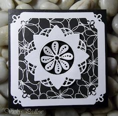 Marianne Design Creatables Flower Doily Card Marianne Design Cards, Card Making Designs, Black N White, Doilies, Cardmaking, Christmas Cards, Paper Crafts, Flowers, How To Make