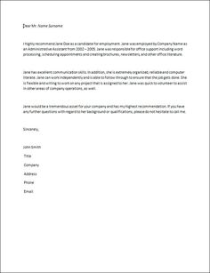 7 best reference letter images on pinterest letter templates letter of recommendation samples recommendation letter best free home design idea inspiration expocarfo Choice Image