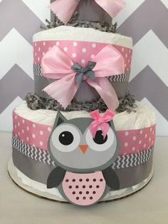 Owl Baby Shower Diaper Cake in Pink and Grey/Owl by AllDiaperCakes