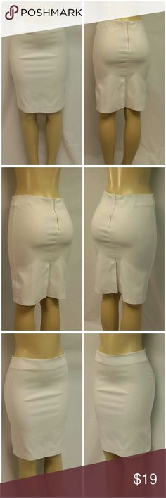 """HAR MONEY MADE IN U.S.A. White Skirt size Large HAR MONEY, MADE IN U.S.A., White Skirt, size Large See Measurements, 3"""" vertical darts watch side of back waistband, slightly stretchy figure hugging, 97% polyester, 3% spandex, approximate measurements: 16"""" waist laying flat, 22"""" length, 6 1/2"""" zipper back center, 7"""" back center hem slit vent. ADD TO A BUNDLE FOR 20% DISCOUNT! Har Money Skirts"""