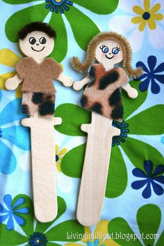 Adam and Eve stick puppets - fun for toddlers (and all ages, really)
