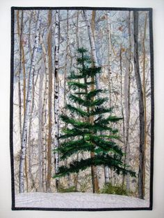 Michigan Winter Woodland with Lone Pine Wall Hanging Art Quilt. Fiber Art Quilt Woodland Winter Pine Art Quilt by SallyManke, Thread Art, Thread Painting, Knife Painting, Landscape Art Quilts, Abstract Landscape, Fiber Art Quilts, Art Quilting, Quilt Art, Quilting Ideas