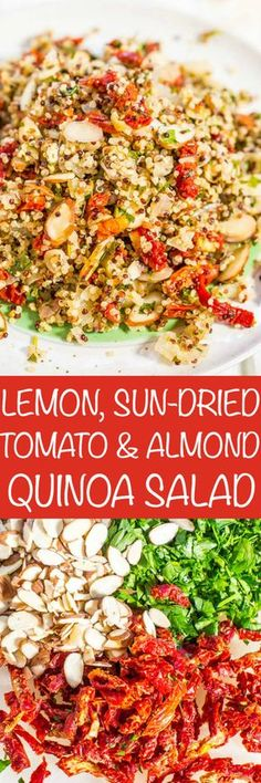 Lemon, Sun-Dried Tomato, and Almond Quinoa Salad - Fast, easy, and fresh! Bright flavors and loads of texture! This clean-eating salad keeps you full and satisfied! Healthy never tasted so good!! (No mayo and great for outdoor events or lunch boxes!)