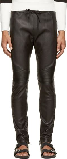 Balmain Slim-fit grained leather trousers