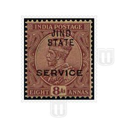 "KING GEORGE V | Type	: Definitive | Stamp Name :King George V | Stamp Issue Date :	1914-27 | Stamp Colour : deep magenta | Face Value : 8 annas | Stamp Printed At	:	Government of India Central Printing Press, Calcutta | Printing Process : Typography | Description :Overprinted with ""JIND STATE"" and ""SERVICE"". JIND STATE in two rows 