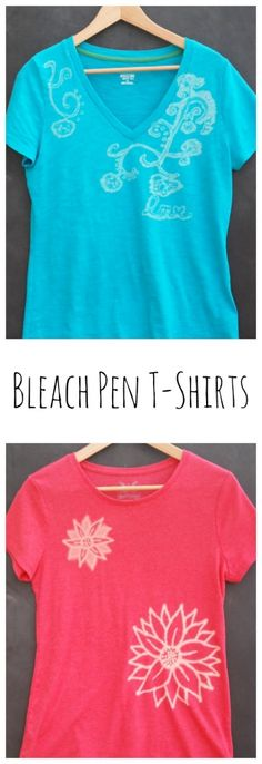 Use a Clorox bleach pen to create awesome designs on a plain t-shirt! These are so easy, but they look so amazing!