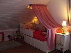 "beautiful ""big girl"" room... love  the lights, but the color would need to change from pink to blue or green!"