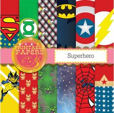 Superhero digital paper 12 superheros plus a free word paper kapow! xmen, avengers #design #clipart