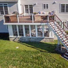 Arial view of Trex RainEscape installed on deck with screened in porch under it
