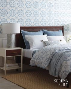 The perfect pillow to finish off a coastal bedroom. This pure cotton sham has a puckered texture and flange that makes it immediately lovable. Ikea, Serena And Lily Wallpaper, Red Sheets, Coastal Bedrooms, Design Your Home, Interior Design Tips, Small Rooms, Linen Bedding, Bed Linens