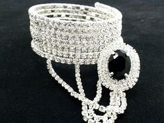 Bracelet Slave W Ring Crystal Silver Plated Women NEW #Unbranded #Statement