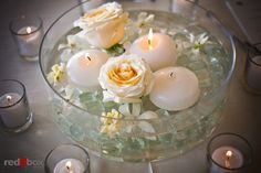 Floating Votive & Flower Centerpiece by Aria Style (Photo by RedBox) / www.ariastyle.com / https://www.facebook.com/AriaStyle