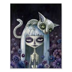 Martinez you should draw something like this! But more alice and wonderland with the chesire cat! Illustrations, Illustration Art, Art Sinistre, Art Noir, Art Mignon, Chesire Cat, Day Of The Dead Art, Creepy Art, Weird Art
