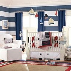 Nautical baby room Boy A red crib would be awesome