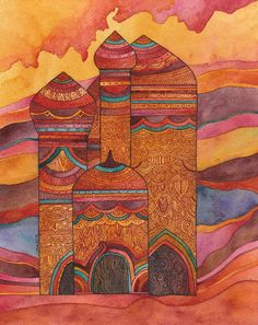 Palace at Sunset, watercolor and ink on paper Year : 2011.