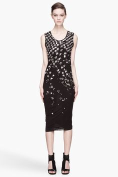 LANVIN Black crystal Embroidered Jersey Dress