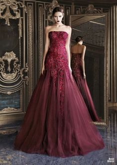 #Rami #Kadi #HOUTE #COUTURE SPRING/SUMMER #2013 #spring #summer #ss #red #maroon #deep #sparkle #tulle #long #dress #gown #strapless #couture #haute #pattern #mermaid