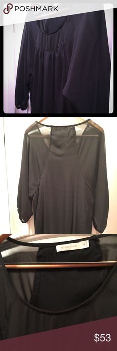 Tunic 3/4 sleeve MINKPINK Black mesh with built in silk tank. Hits at mid thigh I'm 5'6. Dress up with a belt or down with a Jean very versatile piece. Sexy side panels. Perfect condition like new! MINKPINK Tops Tunics
