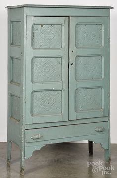 Painted pine pie safe, late 19th c.