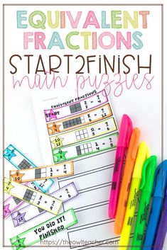 Have your students practice working on equivalent fractions during your math time with these math puzzles that are engaging and perfect for any upper elementary math centers! Upper Elementary Resources, Elementary Math, Maths Puzzles, Math Activities, Google Math, Equivalent Fractions, Teaching Writing, Teaching Tips, Teacher Lesson Plans