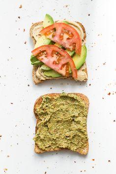 Ultimate 4 Layer Sandwich - Hummus, avocado, tomato and Sun-dried Tomato Hemp Basil Pesto.