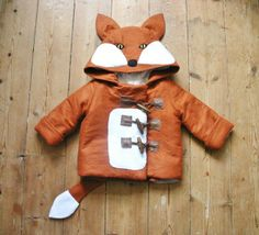 Childrens and Babies Fox Winter Felt Duffle Coat, Handmade to measure, by Me and My Dress on Folksy, £45.00