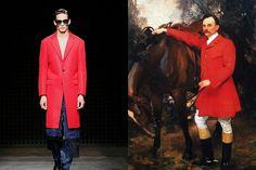 """O sobretudo vermelho usado pelo retratado na obra """"William Marshall Cazalet"""", de John Singer Sargent, parece ter saído da tela e ido parar direto no desfile da marca Casely-Hayford"""