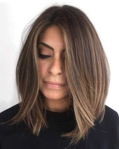 Brunette Balayage Hair Discover 60 Inspiring Long Bob Hairstyles and Haircuts Tousled Streamlined Brown Lob Ombre Hair Color, Hair Color Balayage, Balayage On Straight Hair, Brown Lob Hair, Balayage Long Bob, Brunette Hair Colors, Long Bob Ombre, Brunette Hair Color With Highlights, Light Brunette Hair