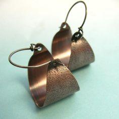 Cobre aro pendientes pendientes de estilo rústico por Mocahete
