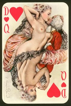 Queen of hearts - illustrated card- Emile Becat