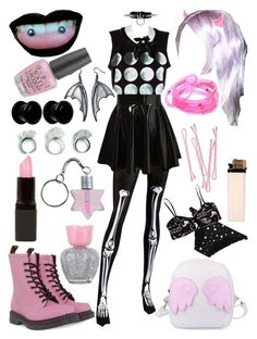 """""""Pastel Queen"""" by pixymae ❤ liked on Polyvore featuring Kreepsville 666, Atsuko Kudo, Dr. Martens, Forever 21, River Island, BOBBY, Nemesis, Dolce&Gabbana and OPI"""