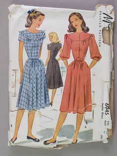 1940s Dress Pattern Day Dress Button Front Bodice by redoredux2, $8.00