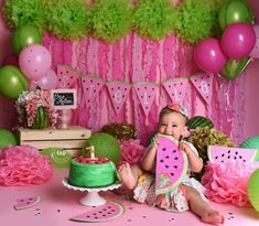 Smash Cake First Birthday, 1st Birthday Party For Girls, Birthday Ideas, Carnival Cakes, Circus Cakes, Cake Smash Photography, Birthday Photography, Baby Shower Watermelon, Fun Party Themes