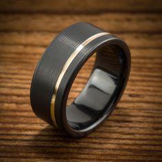 Offset Yellow Gold Stripe Black Zirconium Ring