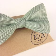 Green bow tie cotton bow tie sage green bow tie bow by NACreates
