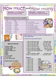English worksheet: How much, how many