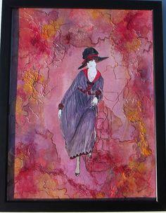 Portrait femme rétro Louise dans cadre noir 33 x
