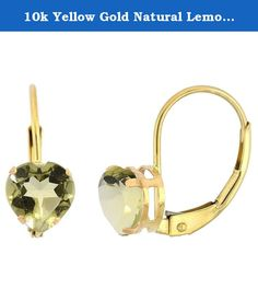 10k Yellow Gold Natural Lemon Quartz Leverback Earrings 6mm Heart Shape 1.5 ct, 9/16 inch. Simplicity of design has nothing to do with cost, and everything to do to bringing out and highlighting the natural beauty of things, and in this case a beautiful matched pair of genuine gemstones. To highlight your mood, match the color of your eyes or your outfit, or just simply to be your birthstones. These earrings are 10 karat gold. There are no earring backs to lose or fuss with, and there are…