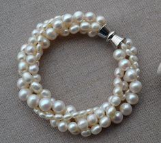pearl bracelet,4 Rows 7.5 inches 3-8mm ivory Freshwater Pearl Bracelet,Pearl Jewelry - Free Shipping