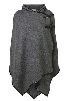 NEW Poncho BLACK LEOPARD Finest Wool Blend Softest Knit Asymmetrical One Size